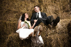 Just married couple holding hands and sitting on hay at stable Royalty Free Stock Image