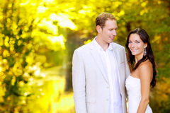 Just married couple in honeymoon park Royalty Free Stock Image