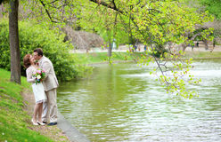 Just married couple hugging and kissing in park Stock Photos