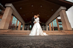 Just married couple hugging outdoors Royalty Free Stock Photography