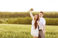 Just married couple. Hugging and smiling Royalty Free Stock Images