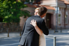 Just married couple hugging Stock Photo