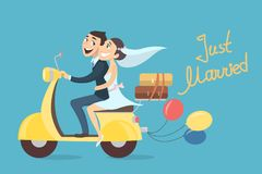 Just married couple. Just married couple riding scooter with balloons Stock Photos