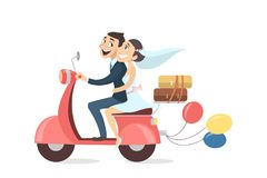 Just married couple. Just married couple riding scooter with baloons and luggage on white background Stock Photos