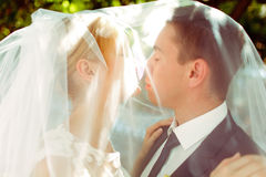 Just married couple kiss standing under a veil in the shine of m Royalty Free Stock Image