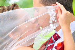 Just married couple is kissing Stock Photo