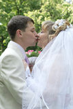 Just married couple kissing. Against nature background Royalty Free Stock Photo