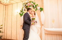 Just married couple kissing in luxurious interior Royalty Free Stock Photography