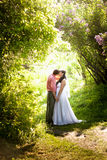 Just married couple kissing at tunnel of trees at park Royalty Free Stock Photo