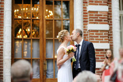 Just married couple kissing Royalty Free Stock Image