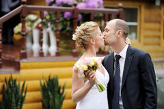 Just married couple kissing Royalty Free Stock Photography