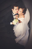 Just married couple leans to each other with their faces tenderl Royalty Free Stock Photo