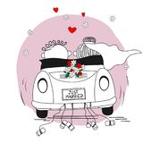 Just married couple leaving for their honeymoon royalty free illustration