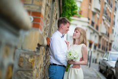 Just married couple looking to each other Royalty Free Stock Image