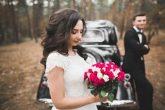 Just married couple in the luxury retro car on their wedding day Stock Photography