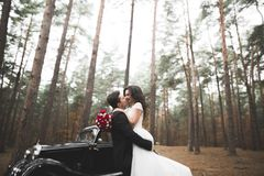Just married couple in the luxury retro car on their wedding day Stock Image