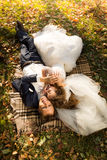 Just married couple lying on yellow leaves at park Royalty Free Stock Photography