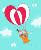 Just married couple on montgolfier. Funny just married cartoon couple on montgolfier Stock Photo