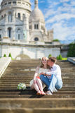 Just married couple on Montmarte in Paris Royalty Free Stock Photo
