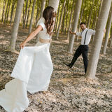 Just married couple in nature background Royalty Free Stock Images