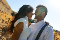 Just married couple in nature background Stock Images