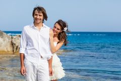 Just married couple near the sea Royalty Free Stock Photos