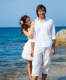 Just married couple near the sea Royalty Free Stock Photography