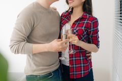 Free Just Married Couple Of Young Man And Woman Feeling Unbelievable Chilling In Their New House Royalty Free Stock Photo - 145180415