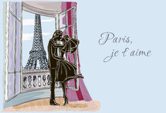 Just married couple in Paris Stock Images
