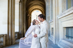 Just married couple in Paris, France Stock Image