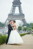 Just married couple in Paris near Royalty Free Stock Photography