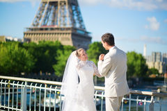 Just married couple in Paris near the Eiffel tower Stock Images
