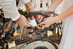 Just married couple place a love padlock on bench in park. Royalty Free Stock Photography
