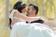 Just married couple in poplar background Stock Photography