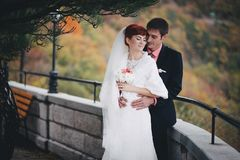 Just Married Couple Posing In An Autumn Park Royalty Free Stock Photos