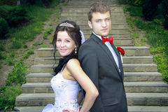Just married couple posing Royalty Free Stock Photography