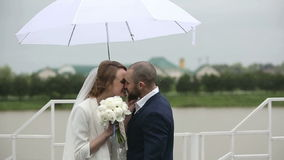 Just married couple in rainy day at terrace with umbrella. Slow motion.  stock footage