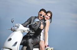Just married couple ride white schooter Royalty Free Stock Photos