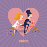 Just married couple riding on bike. Wedding Tandem. Just married couple riding on a tandem bike. Cartoon vector illustration Royalty Free Stock Photo