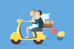Just married couple. Just married couple riding scooter with baloons and luggage on white background Royalty Free Stock Images