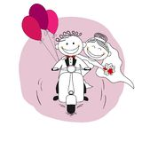 Just married couple on a scooter leaving for honeymoon. Vector illustration vector illustration