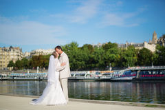 Just married couple on the Seine embankment Stock Photo
