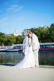 Just married couple on the Seine embankment Stock Images