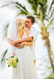 Just married couple sharing intimate moment Royalty Free Stock Photo
