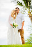 Just married couple sharing intimate moment Stock Images