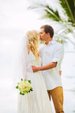 Just married couple sharing intimate moment Royalty Free Stock Photos