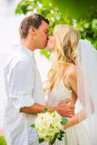 Just married couple sharing intimate moment Stock Photo