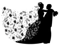 Just married couple silhouette, vector Stock Images