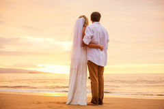 Just married couple on tropical beach at sunset Royalty Free Stock Photography