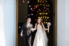 Just married couple under a rain of flower petals Royalty Free Stock Photo